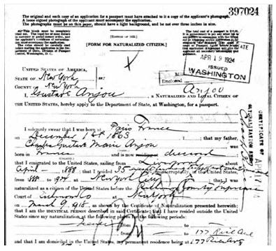 Gustave Anjou's passport application (1924)