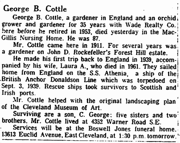 George B. Cottle, Plain Dealer newspaper article 27 January 1966