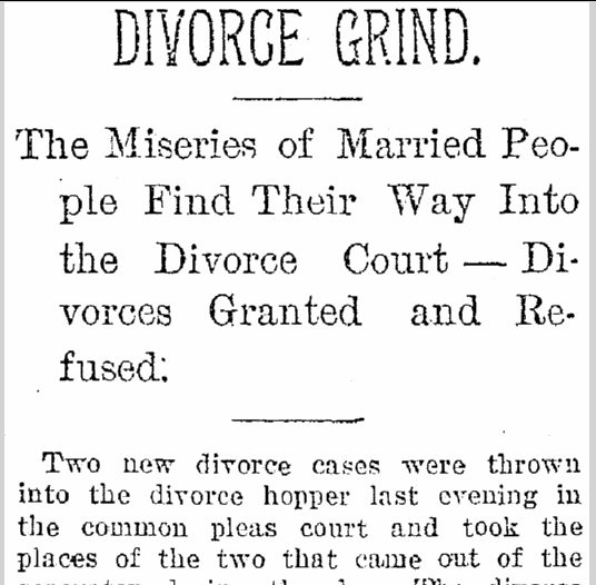 Divorce Grind, Plain Dealer newspaper article 20 May 1893