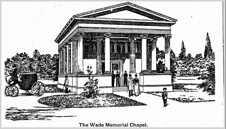 illustration of the Wade Memorial Chapel, Plain Dealer newspaper article 25 December 1898