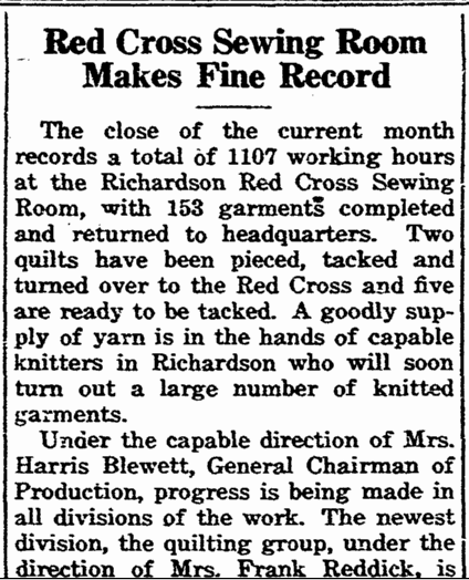 Red Cross Sewing Room Makes Fine Record, Richardson Echo newspaper article, 3 April 1942