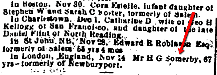 Horatio Somerby death notice, Salem Register newspaper article 5 December 1872