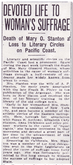 Devoted Life to Woman's Suffrage, San Francisco Chronicle newspaper article 12 March 1914