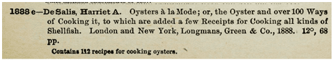mention of Harriet De Salis's 1888 oyster cookbook in the U.S. Congressional Serial Set