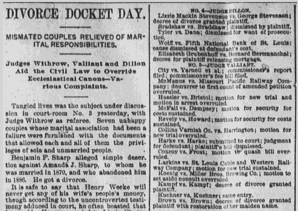 Divorce Docket Day, St. Louis Republic newspaper article 25 June 1889