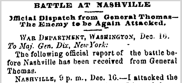 Battle at Nashville, Washington Reporter newspaper article 21 December 1864
