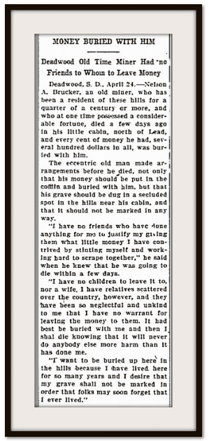 Money Buried with Him, Aberdeen American newspaper article 25 April 1907