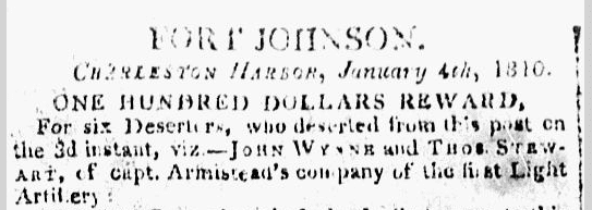 reward ad for Army deserters, City Gazette & Daily Advertiser newspaper article 6 January 1810