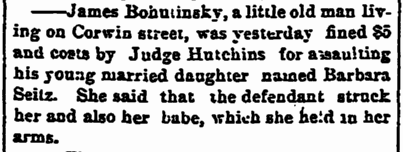 James Bohutinsky domestic violence, Cleveland Leader newspaper article 3 October 1885