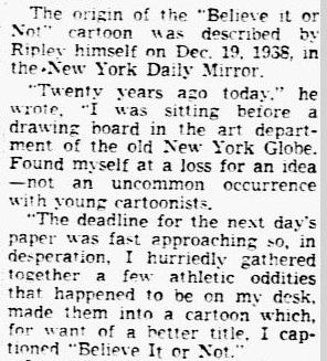 obituary for Robert L. Ripley, Dallas Morning News newspaper article 28 May 1949