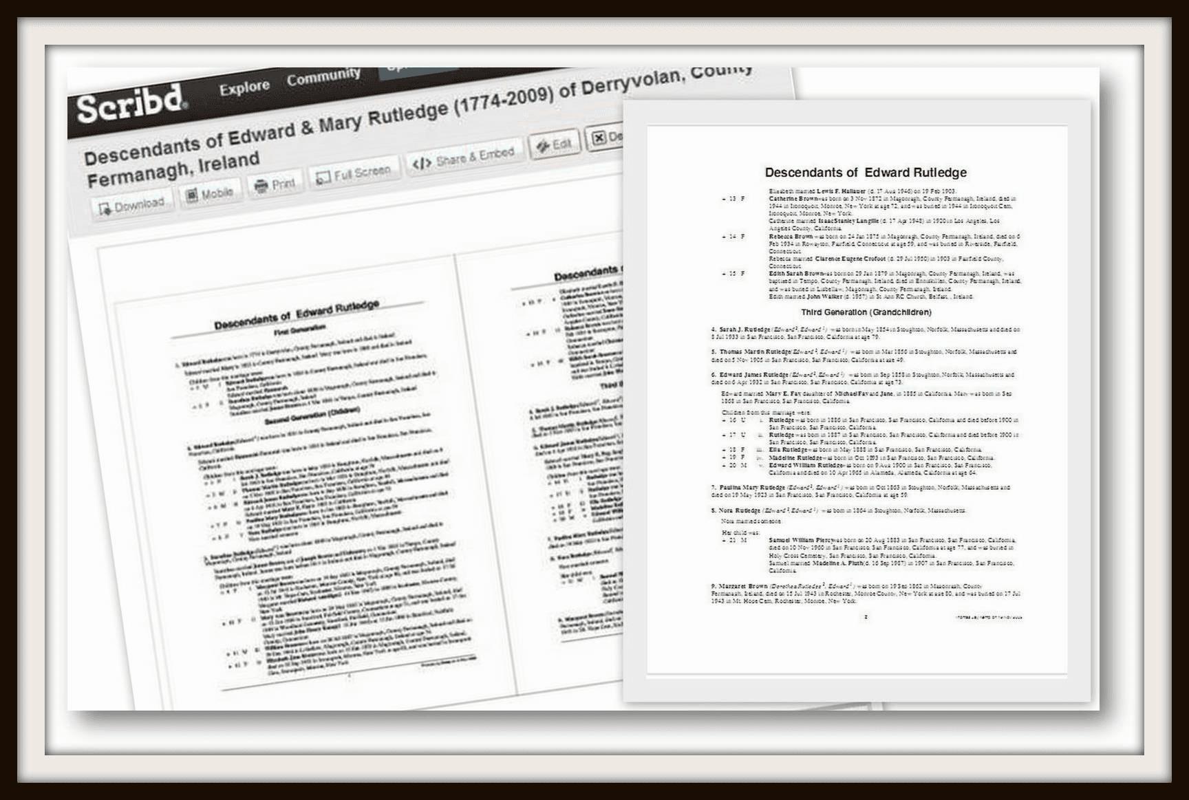 edward and mary rutledge genealogy records on Scribd.com