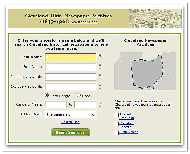 GenealogyBank search page for Cleveland, Ohio, Newspaper Archives
