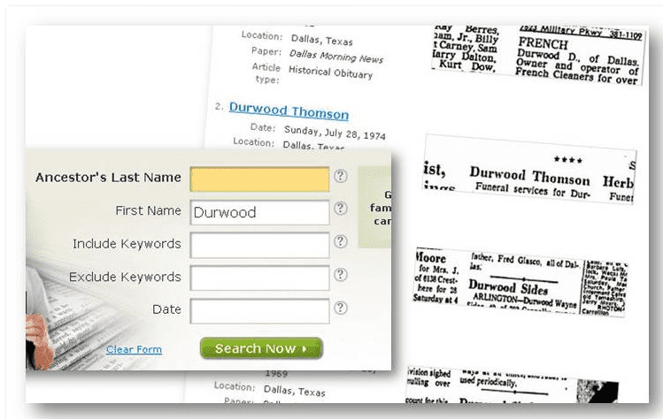 "screenshot of GenealogyBank's search form and results for first name ""Durwood"""