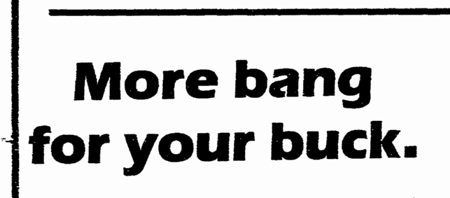 More Bang for Your Buck, Greensboro News and Record newpaper headline 5 August 1984