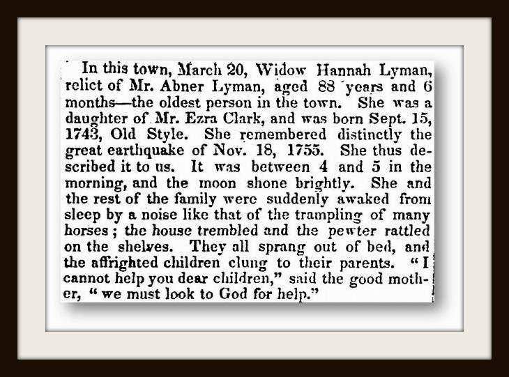 Hannah Lyman's Obituary in the Hampshire Gazette March 21, 1832