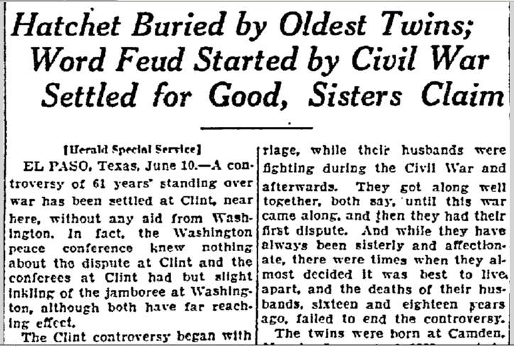 Hatchet Buried by Oldest Twins, Lexington Herald newspaper article 11 June 1922