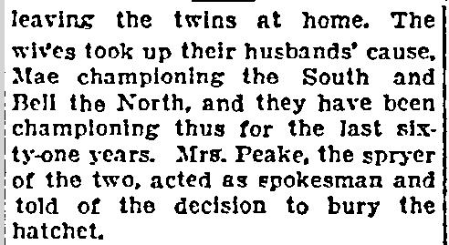Hatchet Buried by Oldest Twins, Lexington Herald newspaper article 11 June 1922