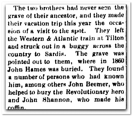 brothers find grave of ancestor John Hames, Marietta Journal newspaper article 29 July 1910