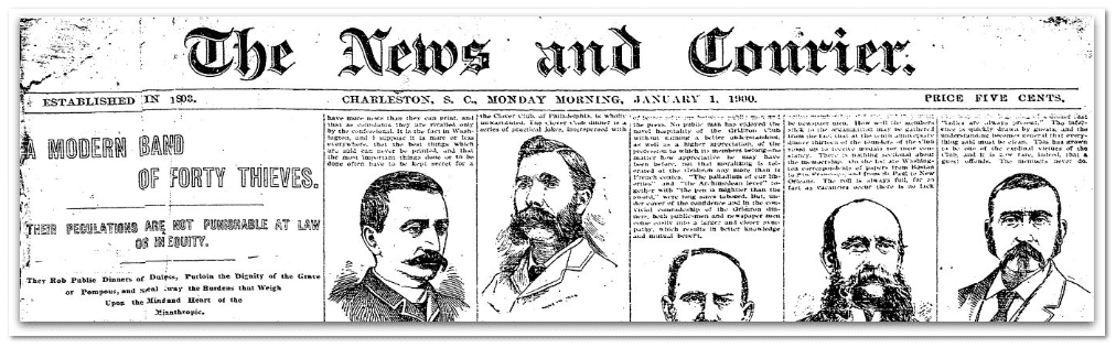 masthead, News and Courier newspaper 1 January 1900