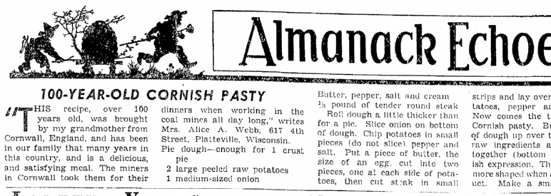 100-Year-Old Cornish Pasty, Oregonian newspaper article 2 April 1939