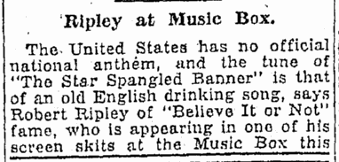 Ripley at Music Box, Oregonian newspaper article 5 November 1930