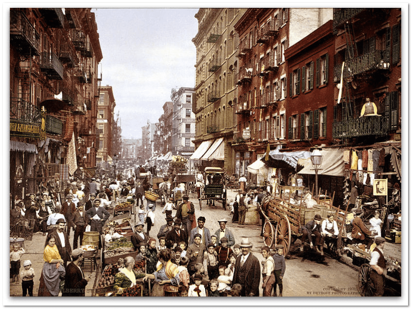 "photo of Mulberry Street in ""Little Italy"" in New York City around 1900"