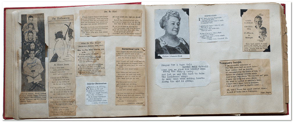 photo of a scrapbook showing newspaper clippings