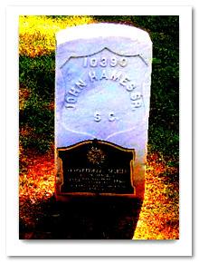 photo of the gravestone of John Hames, buried in 1860