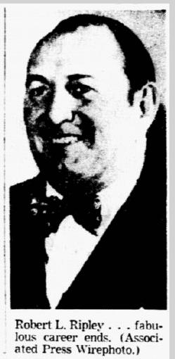 photo of Robert L. Ripley, Dallas Morning News newspaper article, 28 May 1949