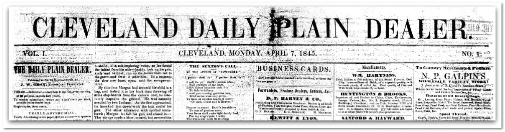 masthead, Cleveland Plain Dealer newspaper 7 April 1845