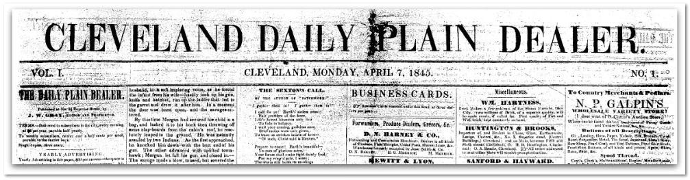 masthead, Cleveland Plain Dealer newspaper 7 April 1845