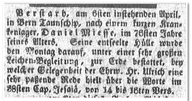 Daniel Miesse obituary, Reading Adler newspaper article 14 April 1818