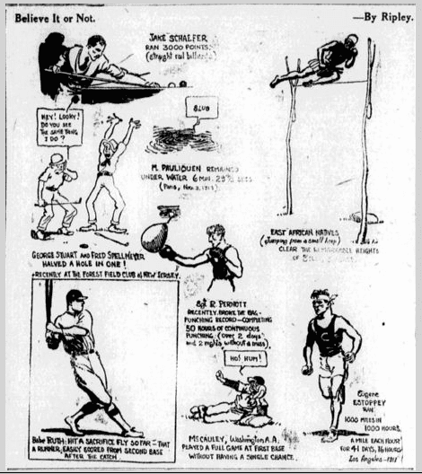 """Ripley's """"Believe It or Not,"""" State newspaper cartoon 22 October 1919"""