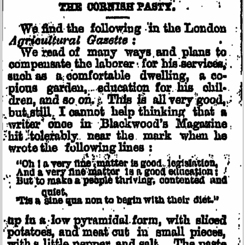 The Cornish Pasty, Stoughton Sentinel newspaper article 22 April 1876