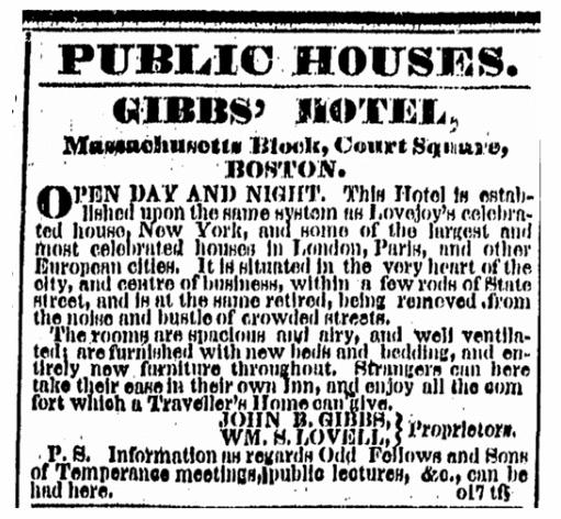 Gibbs' Hotel advertisement, Boston Herald newspaper 1 January 1850