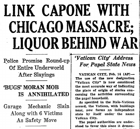 Link Capone with Chicago Massacre, Boston Herald newspaper article 15 February 1929