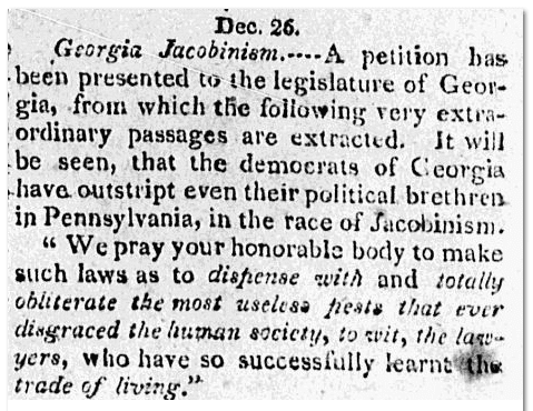 Georgia petition against lawyers, Connecticut Herald newspaper article 2 January 1810