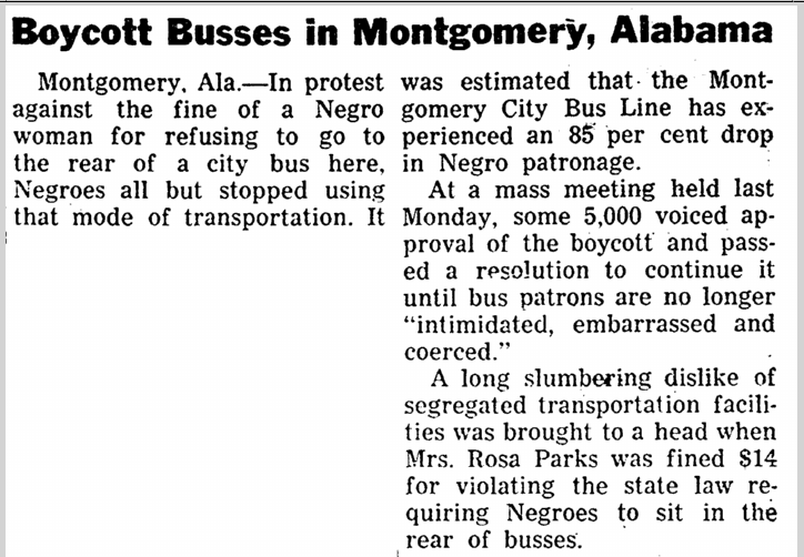 Boycott Busses in Montgomery, Alabama, Crusader newspaper article 9 December 1955