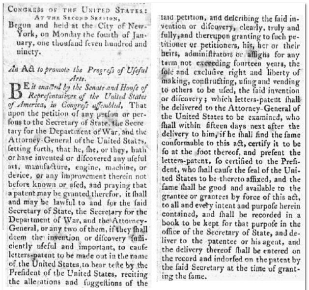 1790 Patent Act, Daily Advertiser newspaper article 13 April 1790
