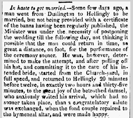 amusing wedding story, Daily Advertiser newspaper article 22 August 1807