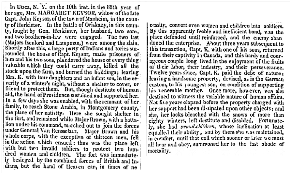 Margaret Keysor obituary, Daily National Intelligencer newspaper 23 April 1823