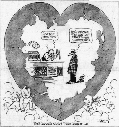 Valentine's Day cartoon, Dallas Morning News newspaper 8 February 1925