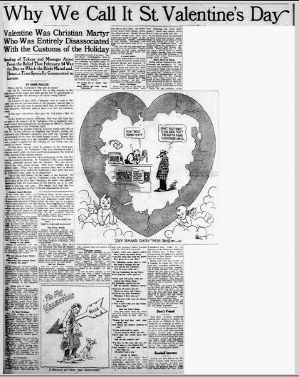 Why We Call It St. Valentine's Day, Dallas Morning News newspaper article 8 February 1925
