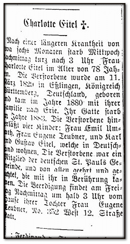 Charlotte Gitel obituary, Erie Tageblatt newspaper 1 August 1907