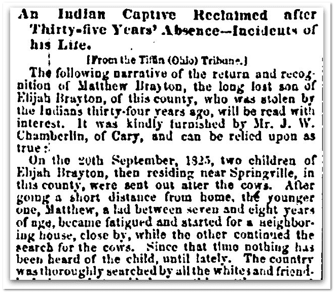 An Indian Captive Reclaimed after Thirty-five Years' Absence, Evening Post newspaper article 3 December 1859