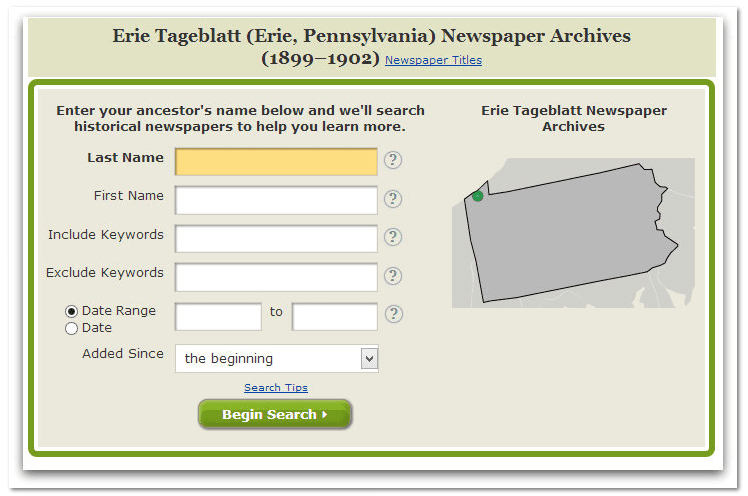 GenealogyBank search form for Erie Tageblatt newspaper