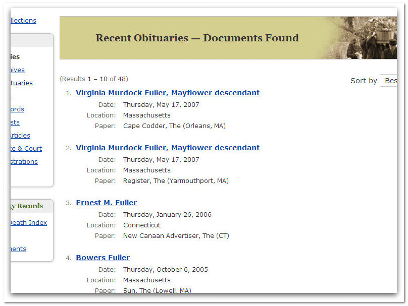 GenealogyBank Recent Obituaries Search Results
