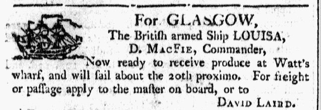 shipping notice about British ship Louisa, Georgia Gazette newspaper article 27 February 1800