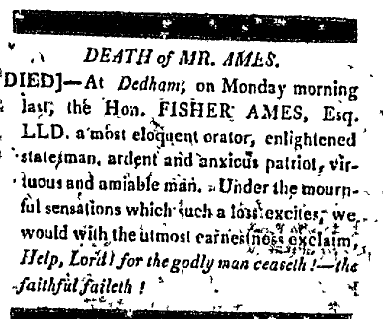 Fisher Ames obituary, Hampshire Federalist newspaper 7 July 1808