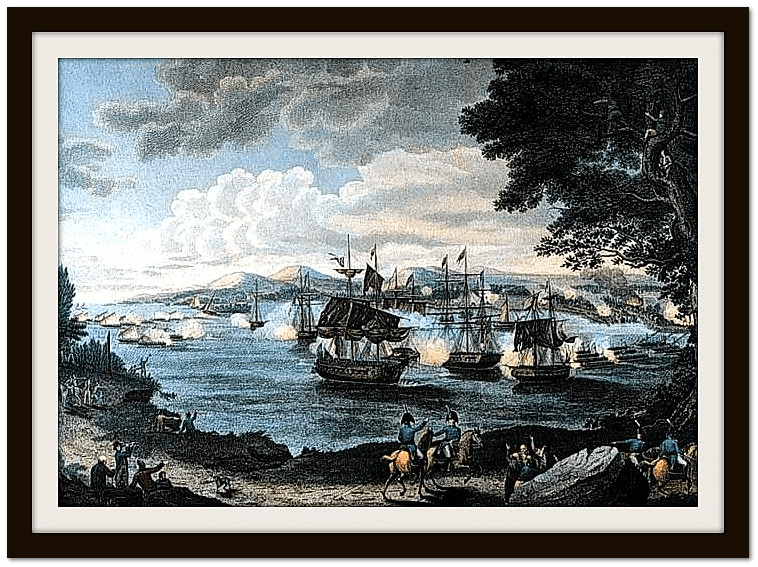 painting of naval battle on Lake Champlain by B. Tanner, 1816